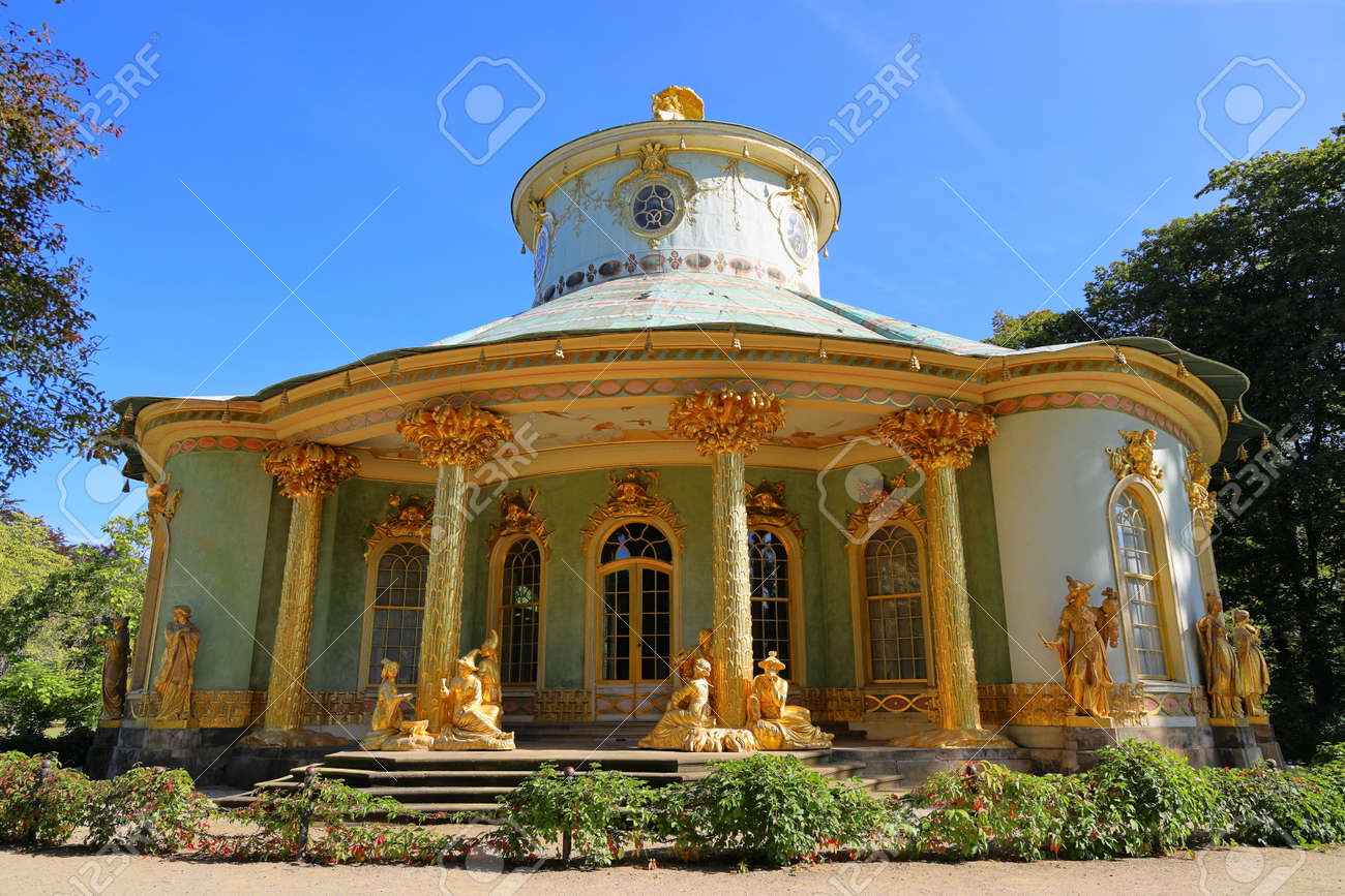 Potsdam, Germany - September 18, 2020: Visiting the royal palace und park Sanssouci in Potsdam on a sunny day in September. View on the Chinese House. - 164924770