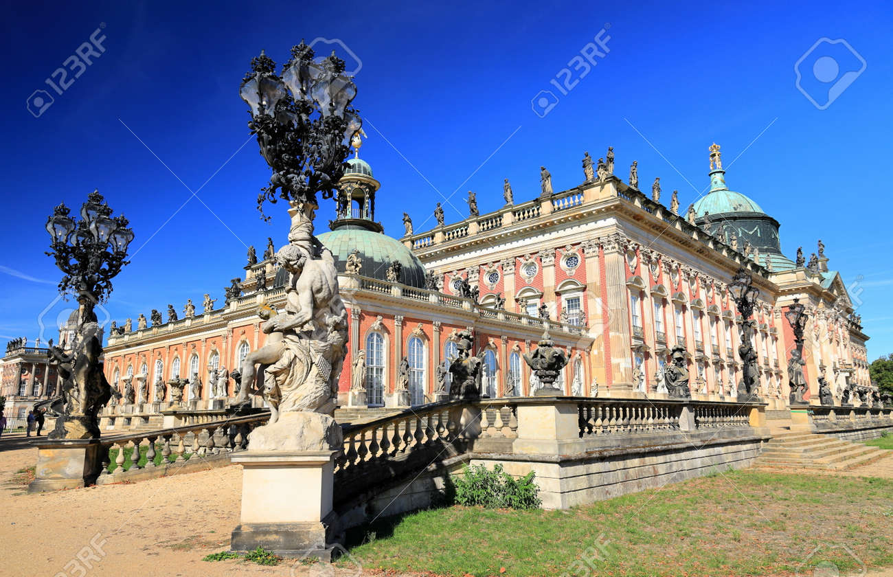 Potsdam, Germany - September 18, 2020: Visiting the royal palace und park Sanssouci in Potsdam on a sunny day in September. View on the New Palace. - 164924754