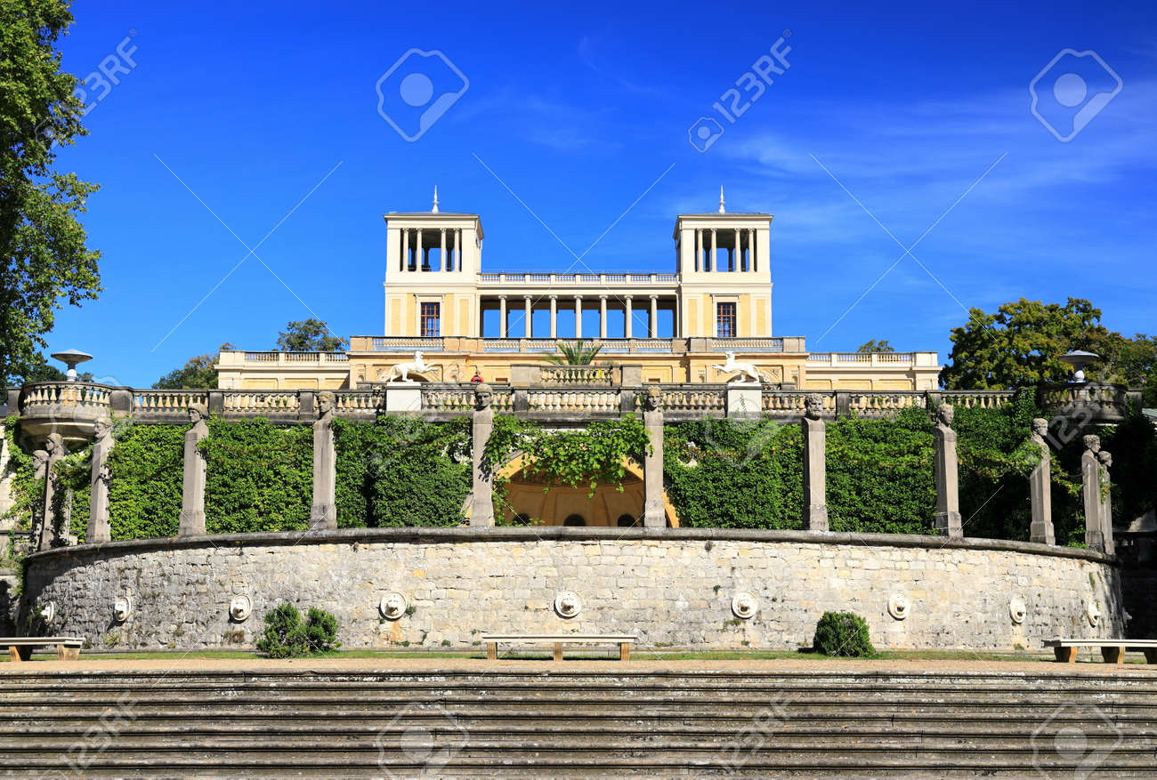 Potsdam, Germany - September 18, 2020: Visiting the royal palace und park Sanssouci in Potsdam on a sunny day in September. View on the Orangery Palace. - 164924753