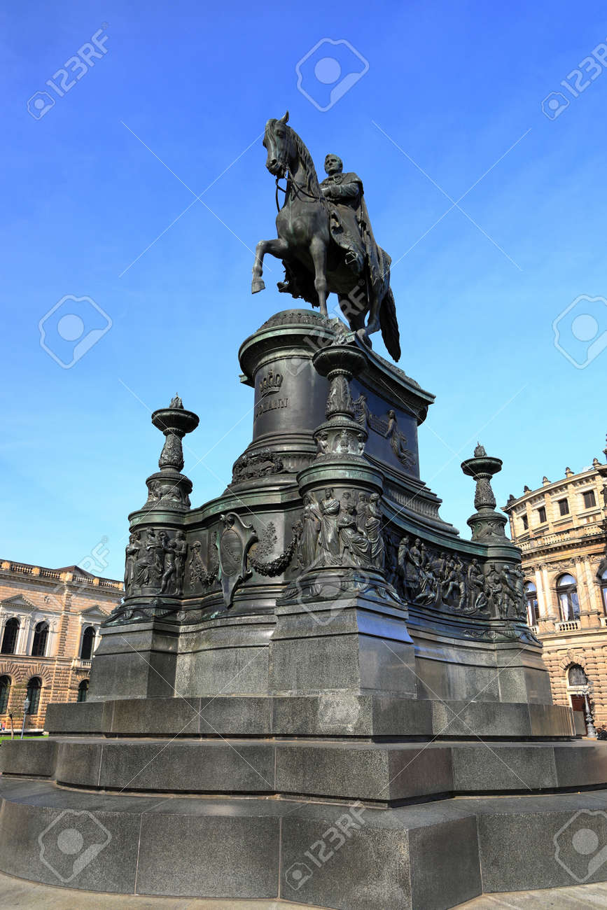 The statue of King Johann from Saxony by the Semperoper. Dresden, Germany, Europe. - 166804692