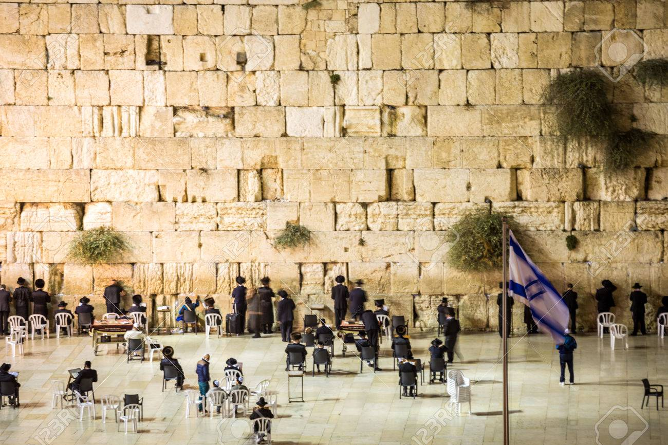 Wailing Wall With Many Jews, Jerusalem, Israel Stock Photo, Picture ...