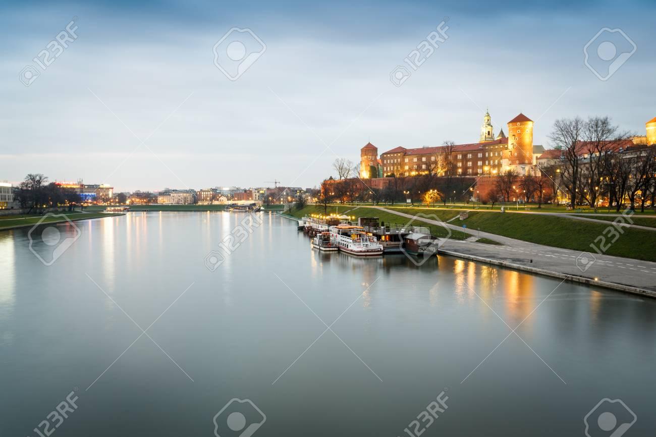 Wawel Castle and Vistula river in Krakow, Poland, Europe - 56159387