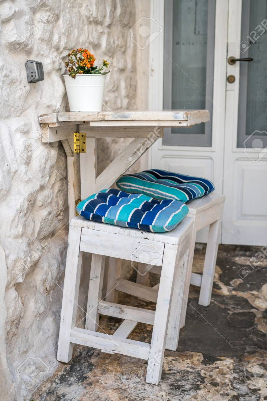 Romantic Urban Table And Chairs For Two People, Ostuni, Italy Stock Photo    75068557