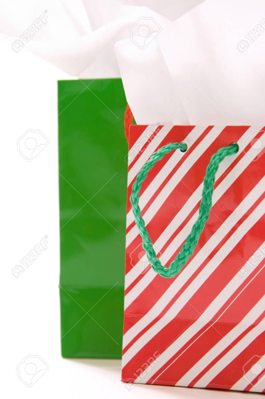 Rote Und Grüne Weihnachten Geschenk-Taschen Lizenzfreie Fotos ...