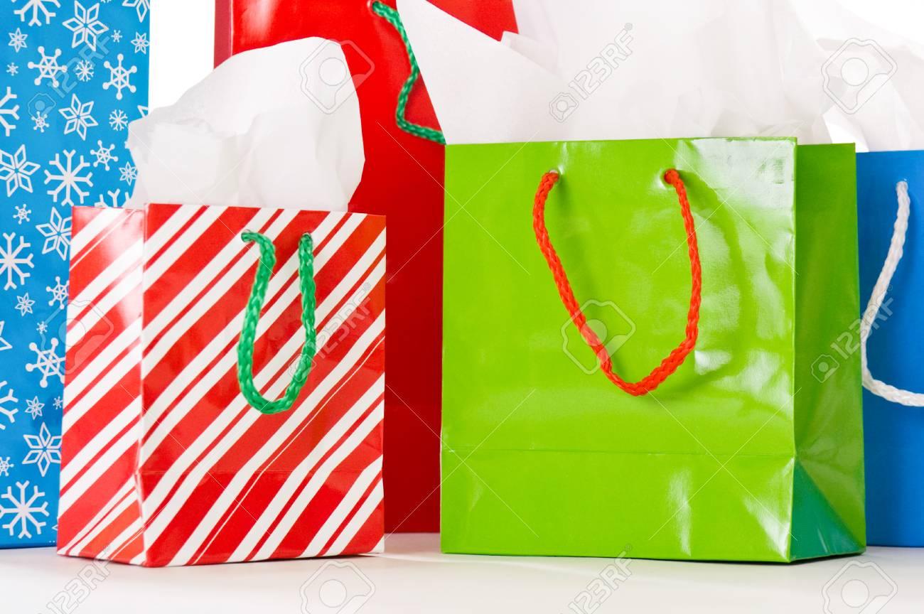 Bunch Von Weihnachten Geschenk-Taschen In Rot, Grün Und Blau ...