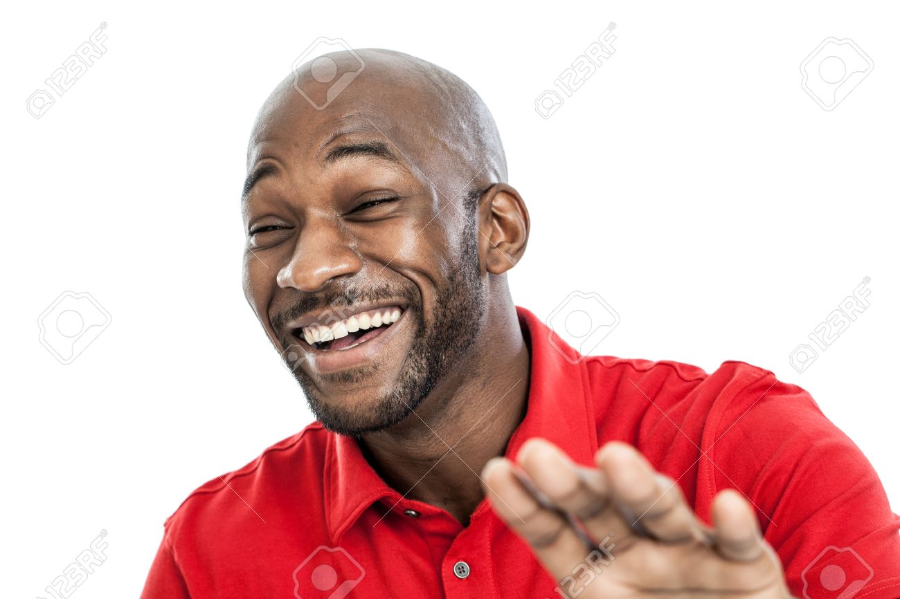 Get with it 23826986-Portrait-of-a-late-20s-handsome-black-man-laughing-isolated-on-white-background-Stock-Photo