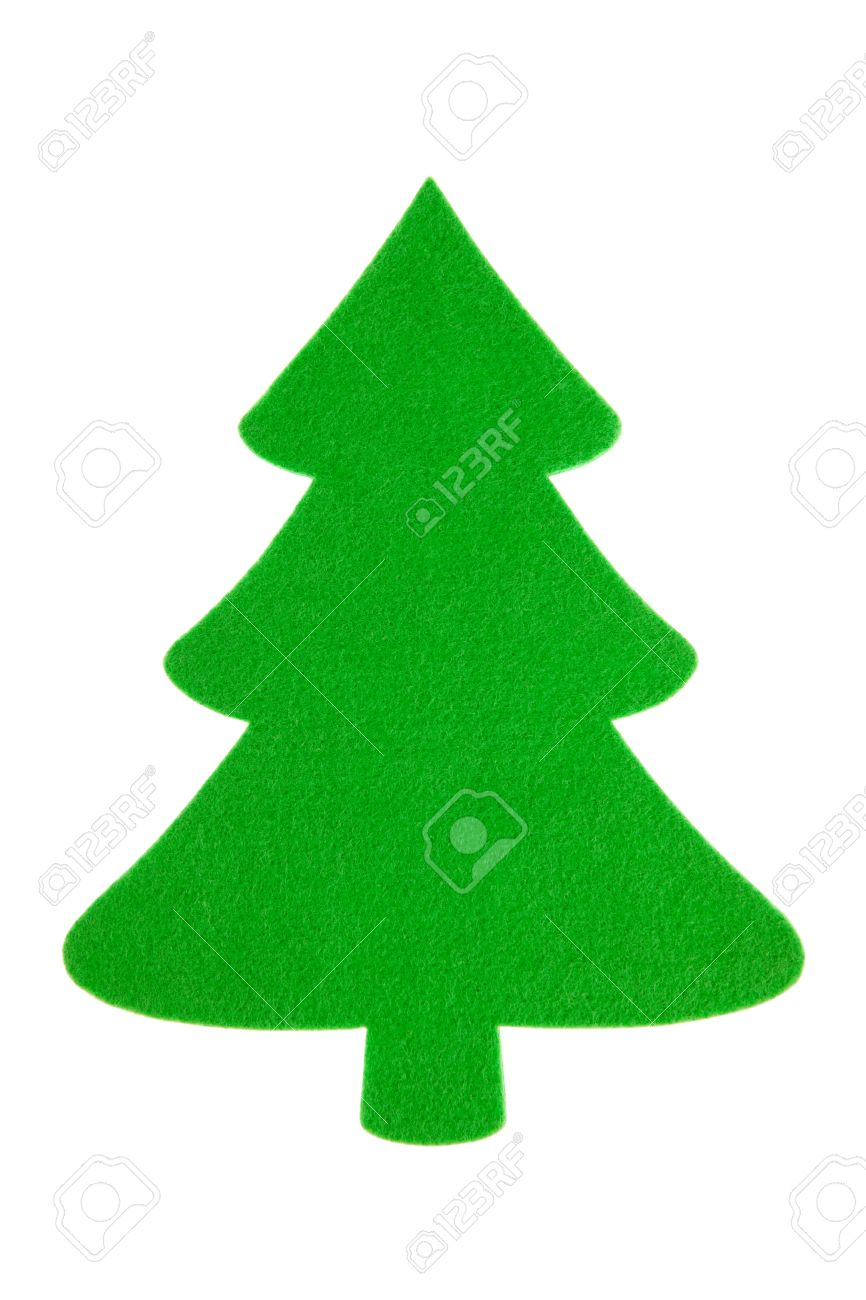 Plain Blank Green Felt Christmas Tree Cutout Design Element Isolated On White Stock Photo