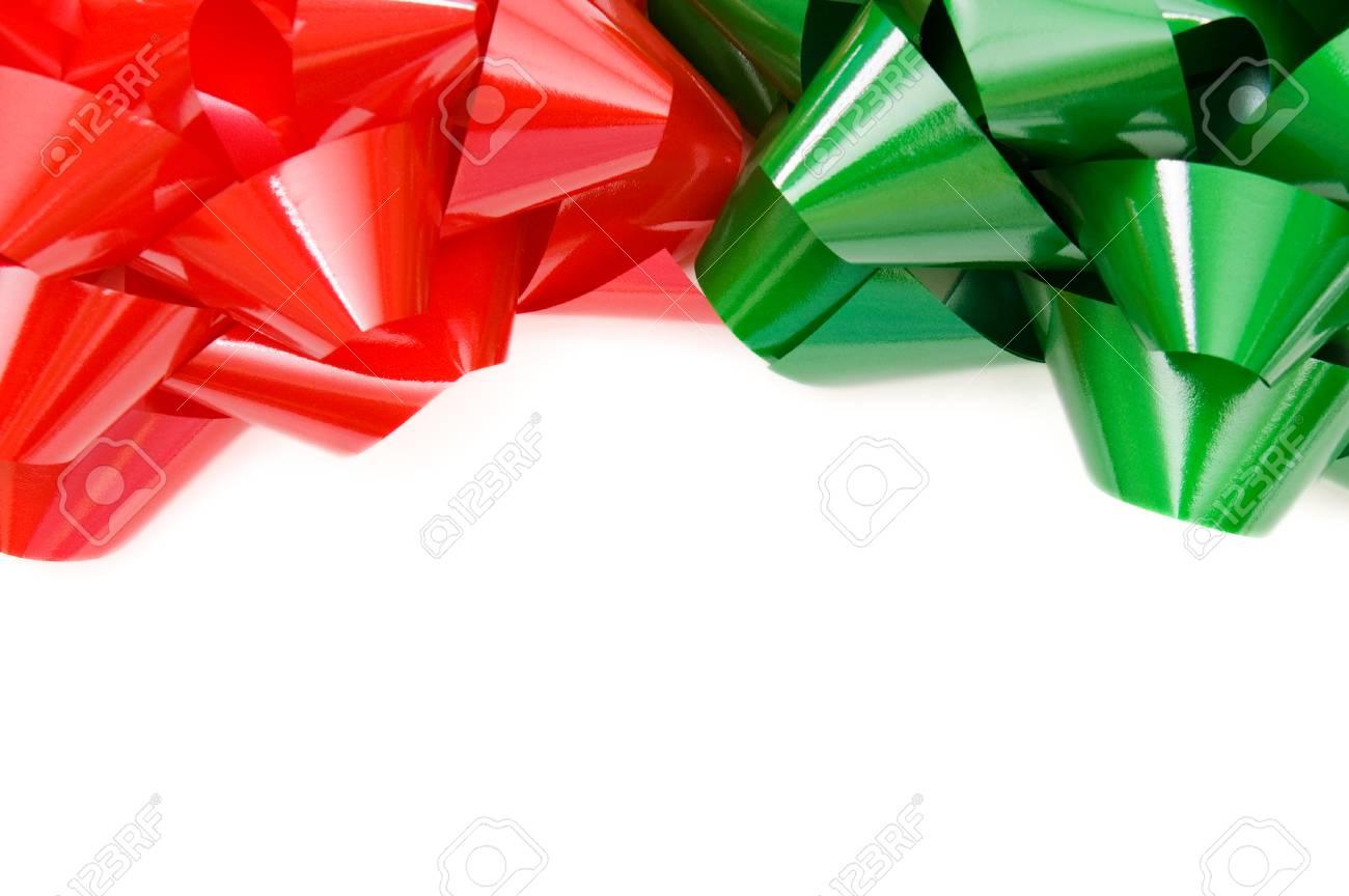 Rote Und Grüne Weihnachtsbögen Oberen Rand Auf Weißem Isoliert ...