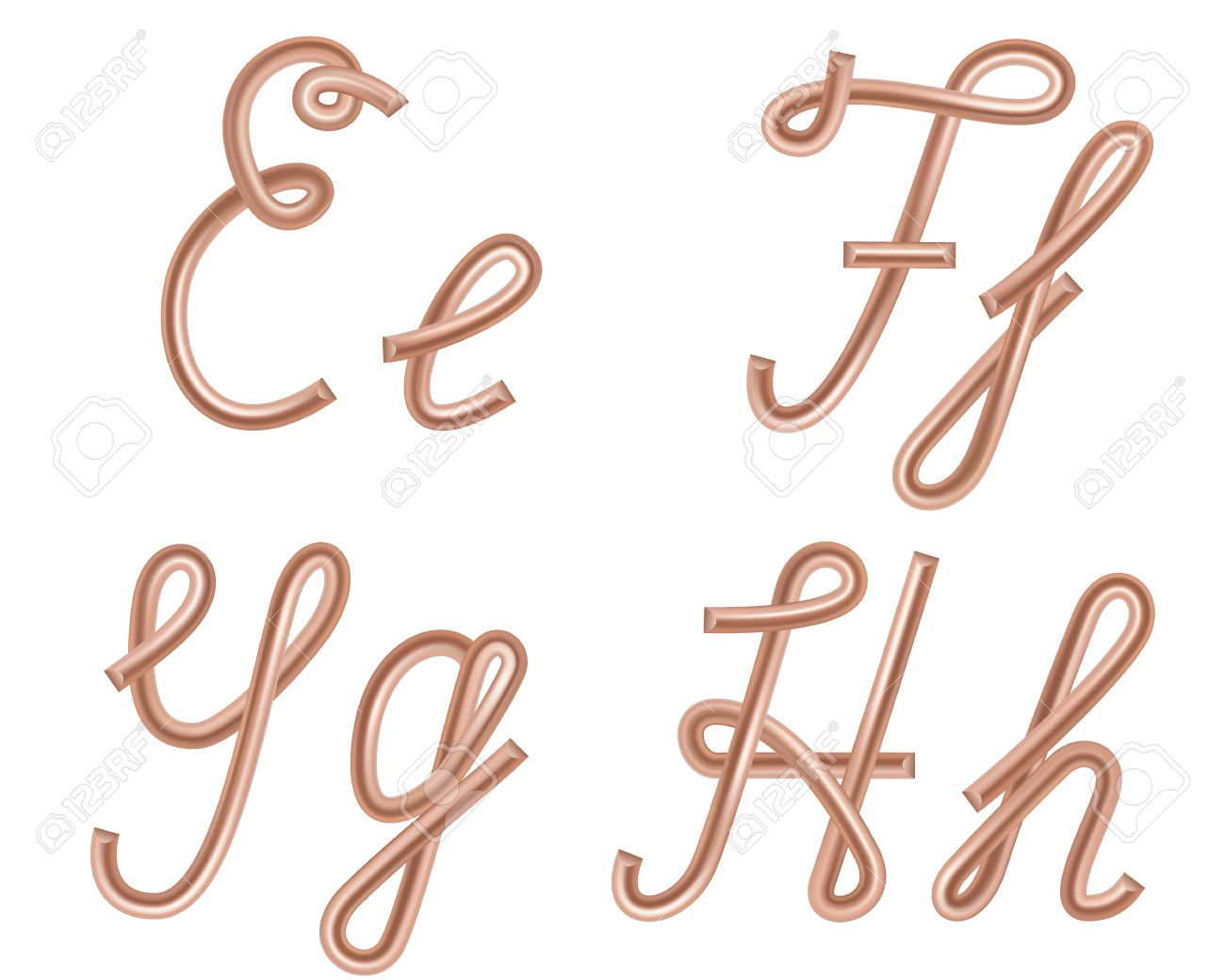 E, F, G, H Vector Letters Made Of Metal Copper Wire, Modern US ...