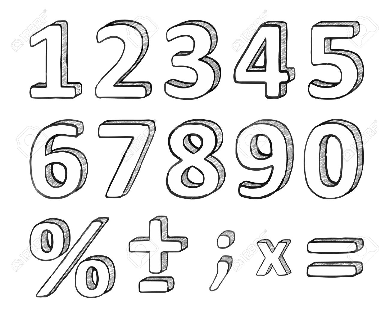 Hand Drawn Numbers And Basic Math Signs, Vector Illustration Royalty ...