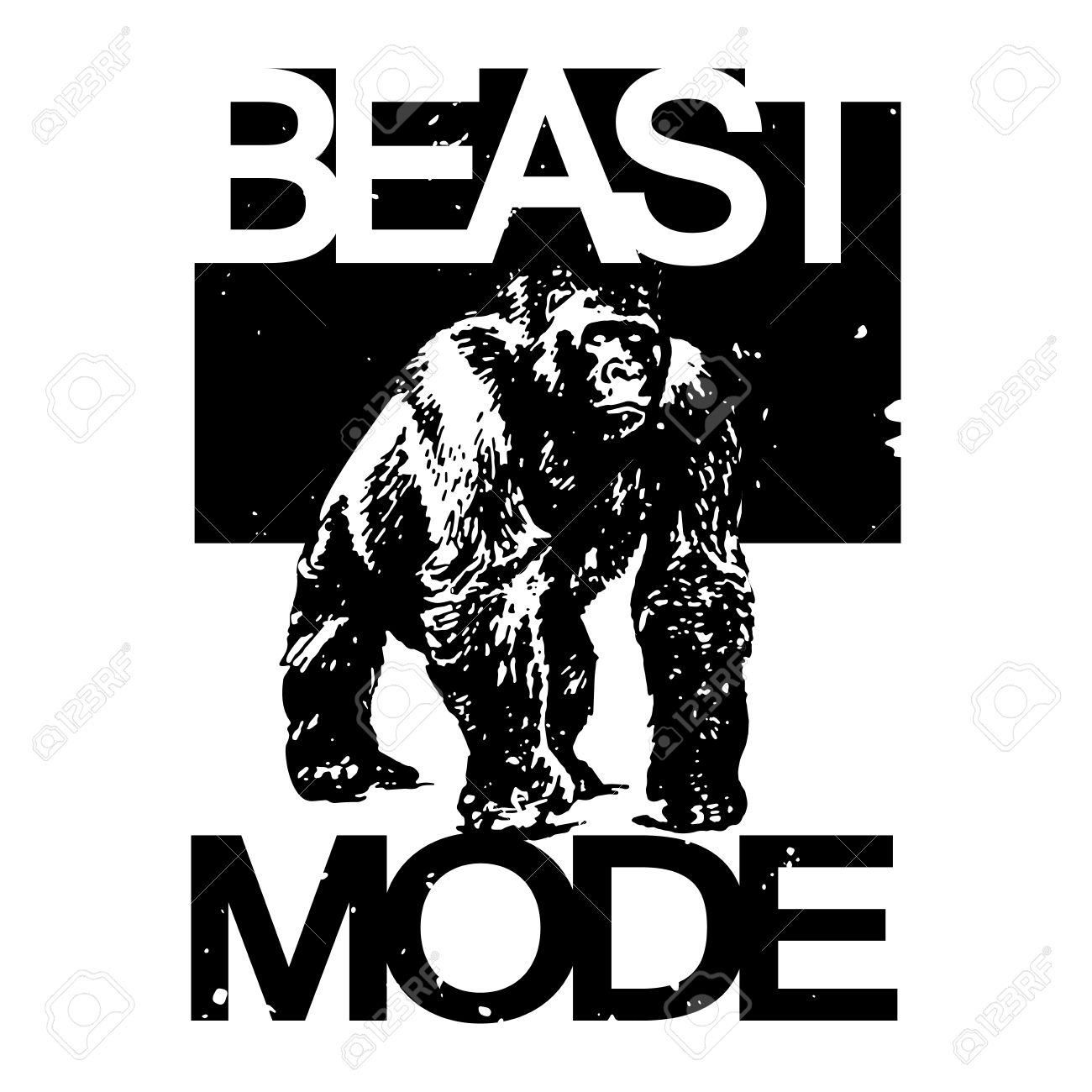 T shirt design vectors - Beast Mode Big Gorilla Monkey Monochrome T Shirt Design Vector Illustration Stock Vector