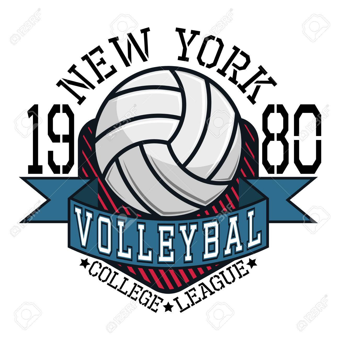 volleyball college league new york team t shirt typography graphics rh 123rf com