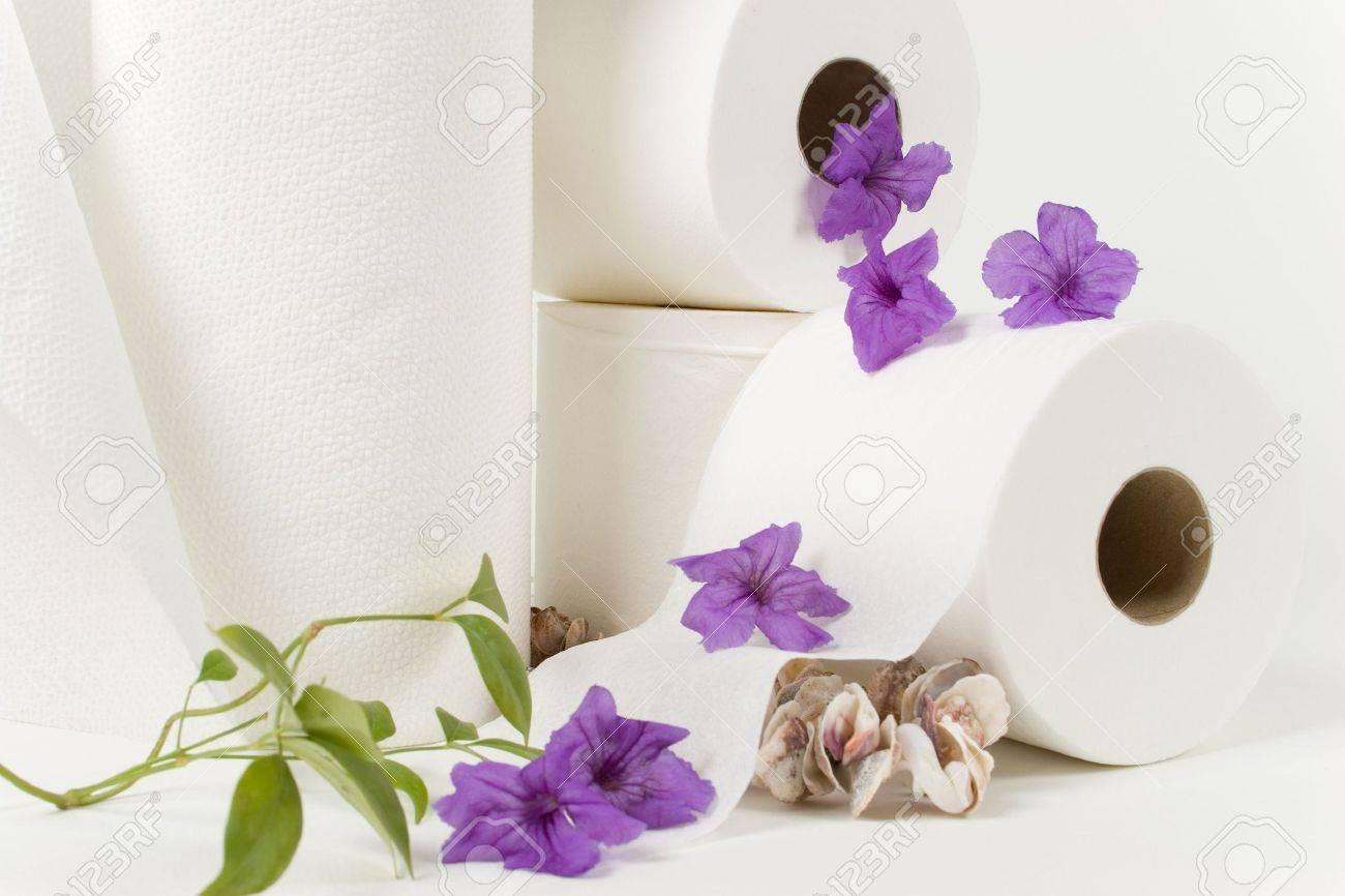 Paper Towel And Toilet Paper Rolls With Natural Flowers And See