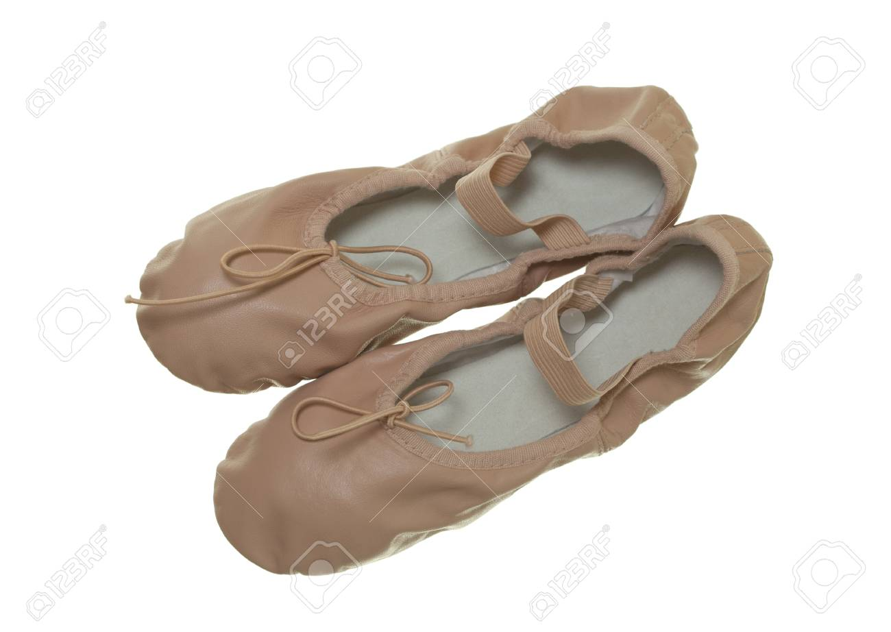 Pink leather ballet shoes; isolated on white background Stock Photo - 17456190