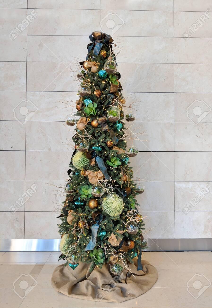 Cactus Christmas Tree.Barrel Cacti Used As Ornaments Hanging On Christmas Tree