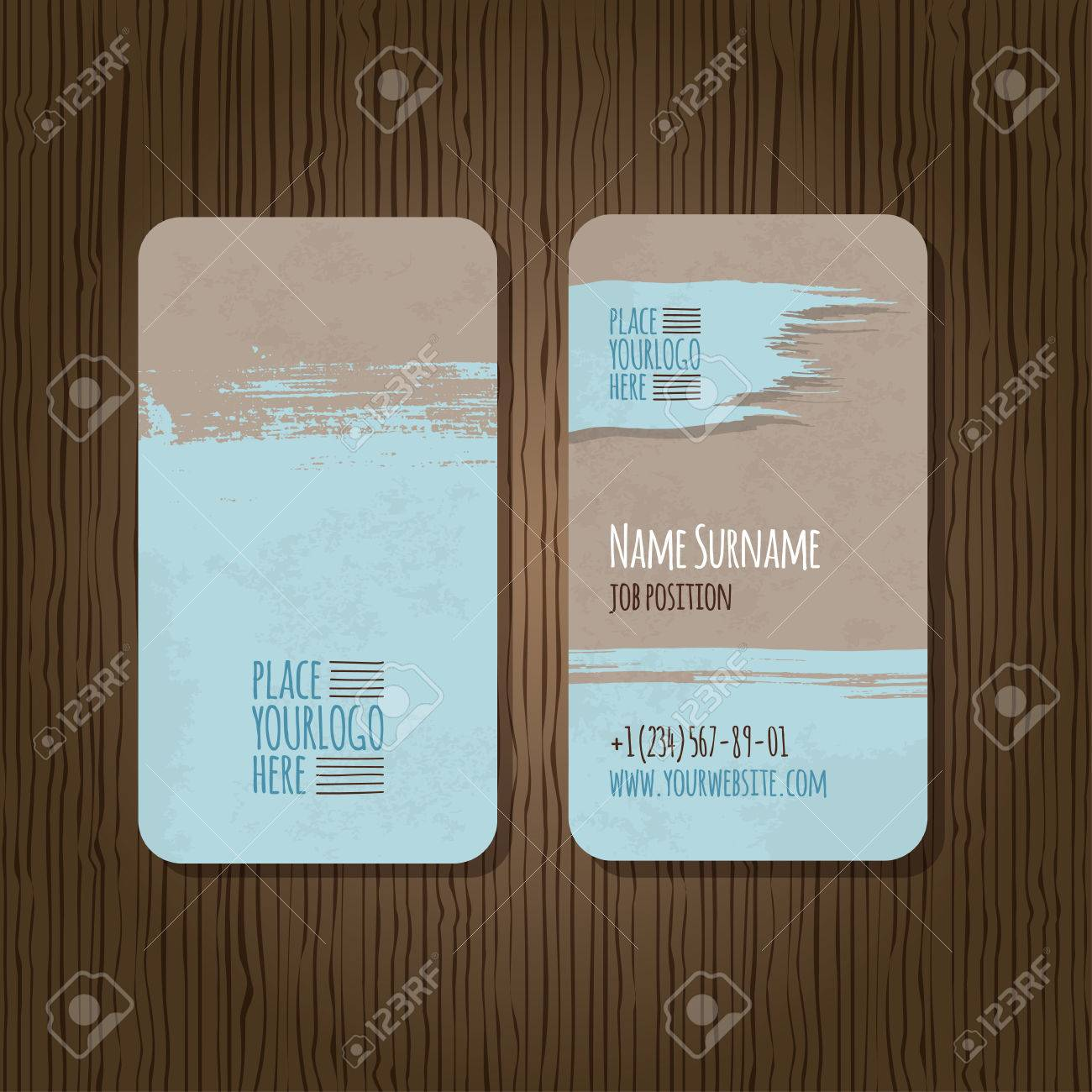 Double sided grunge business card template with rounded corners double sided grunge business card template with rounded corners on wooden background stock vector fbccfo