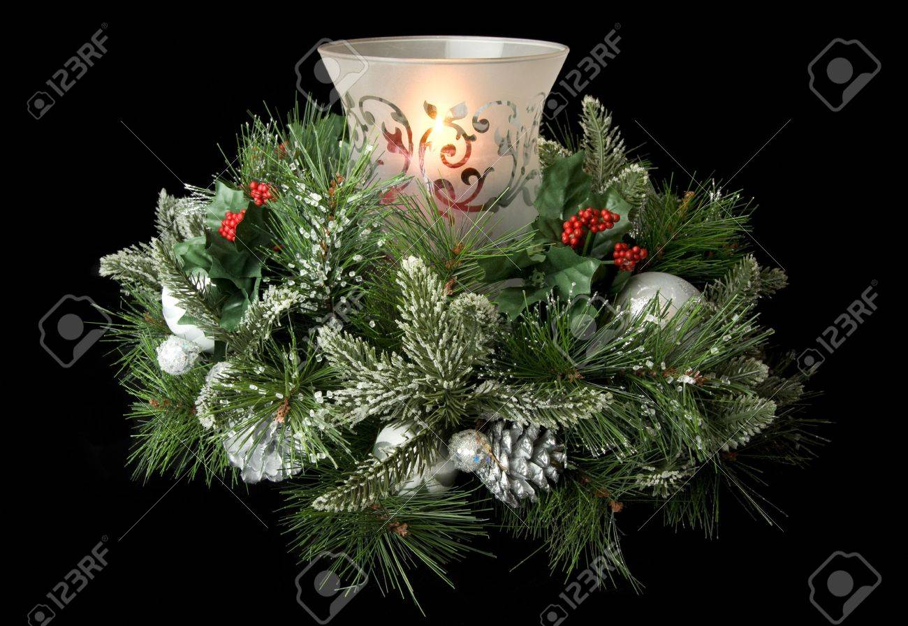 Christmas Greenery Centerpieces.Christmas Table Centerpiece With Hurricane Glass Glowing Candle