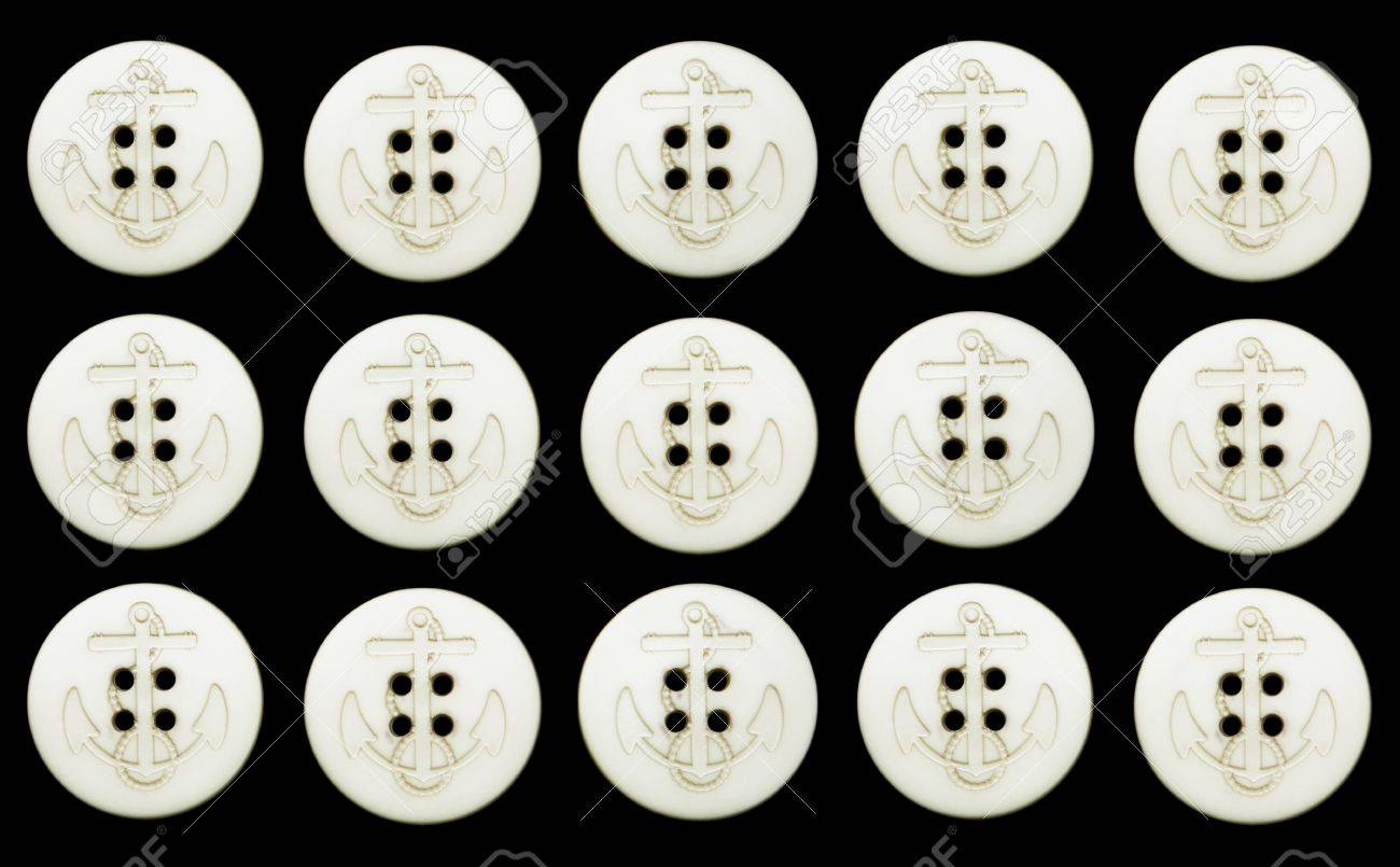 15 ivory colored vintage navy buttons with rope and anchor motif,