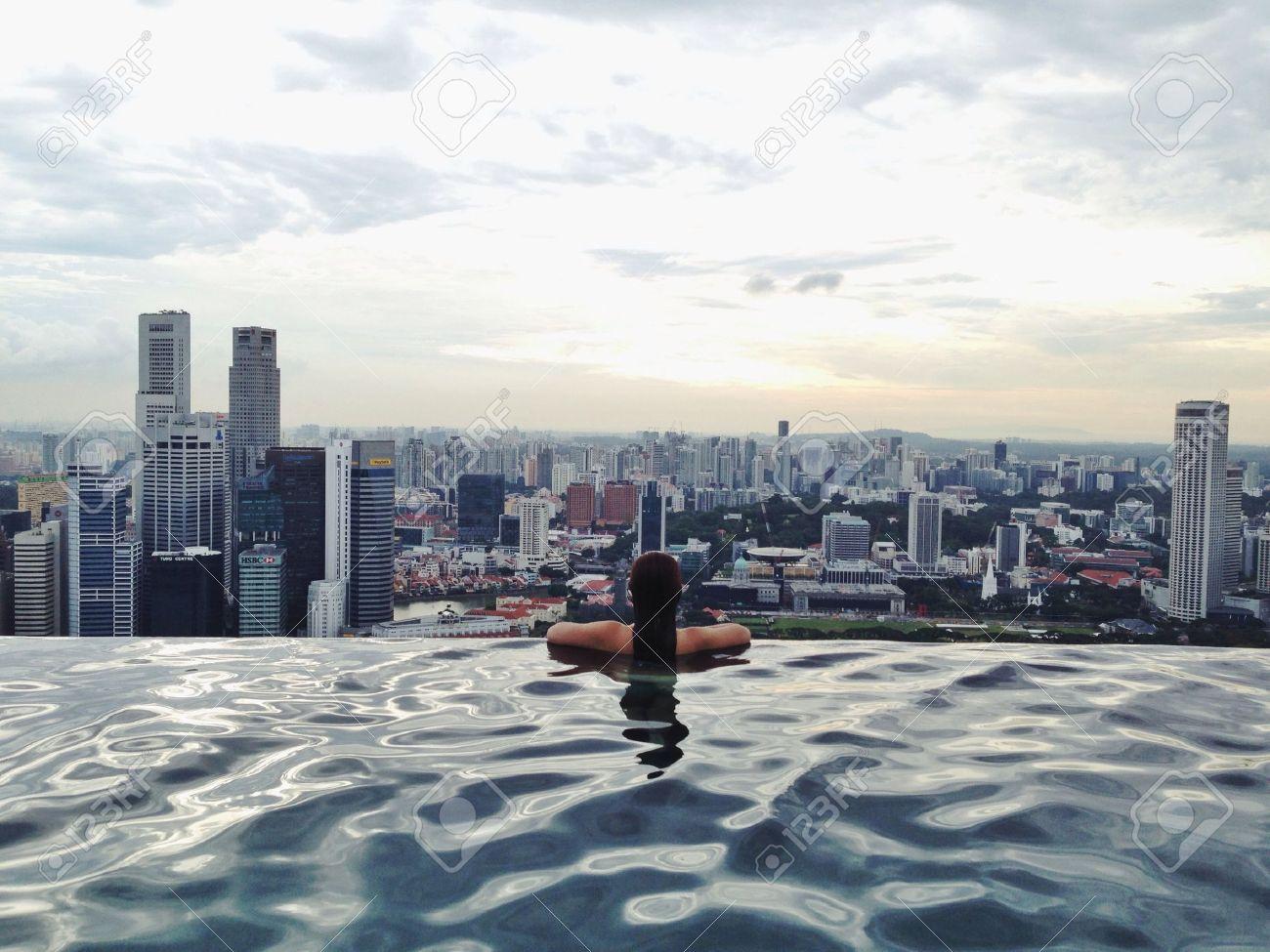 infinity pool singapore night. Scenic View From Marina Bay Sands Singapore Rooftop Infinity Pool Stock Photo - 22391220 Night