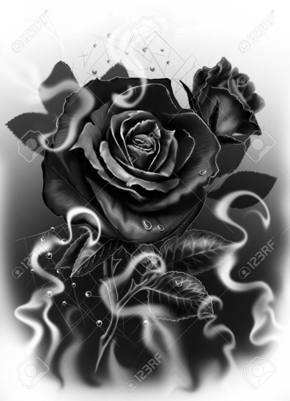 Black Rose In Black And White As A Sketch For A Tattoo Stock Photo