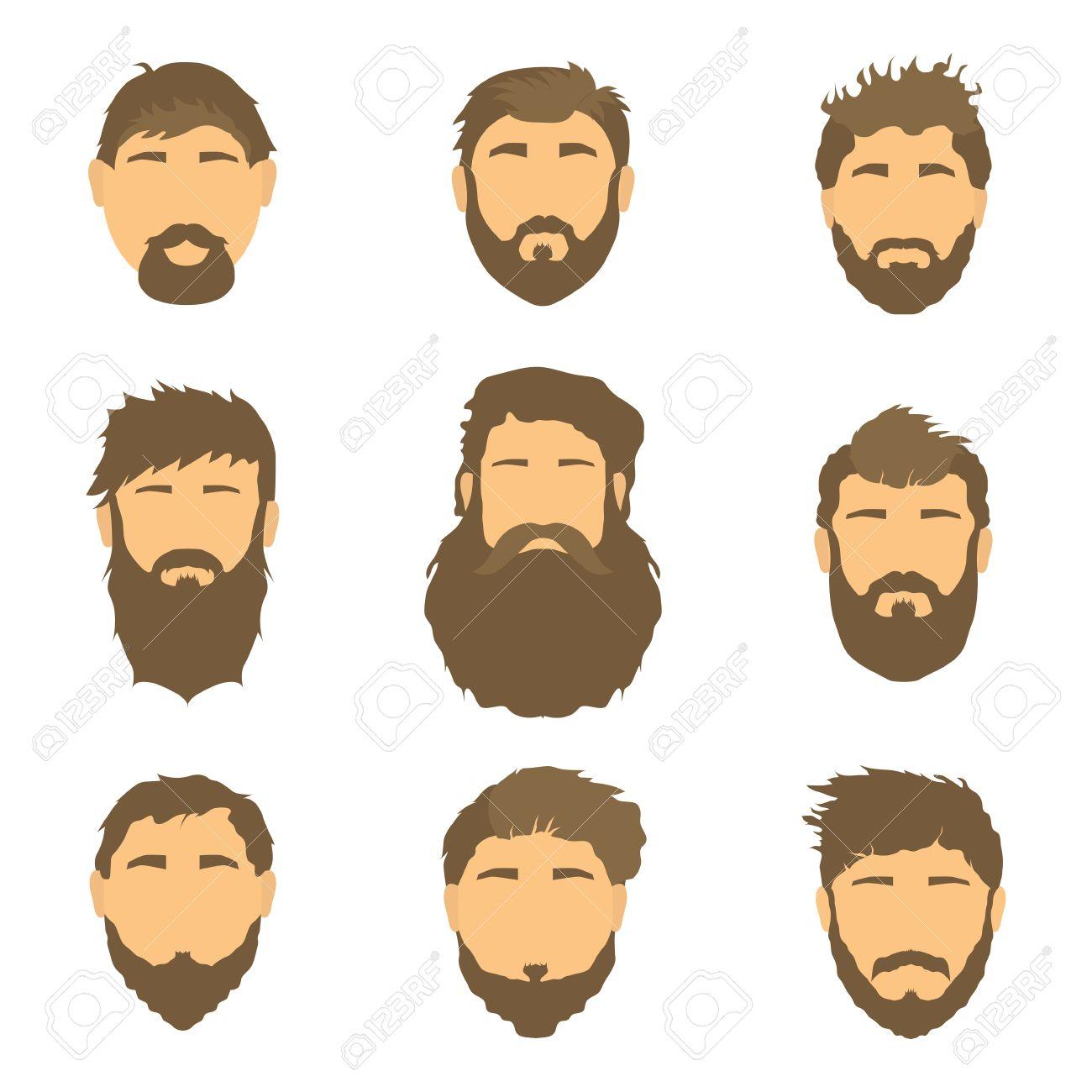 Cartoon Hair Beard And Face Sleek Style Mens Hairstyle