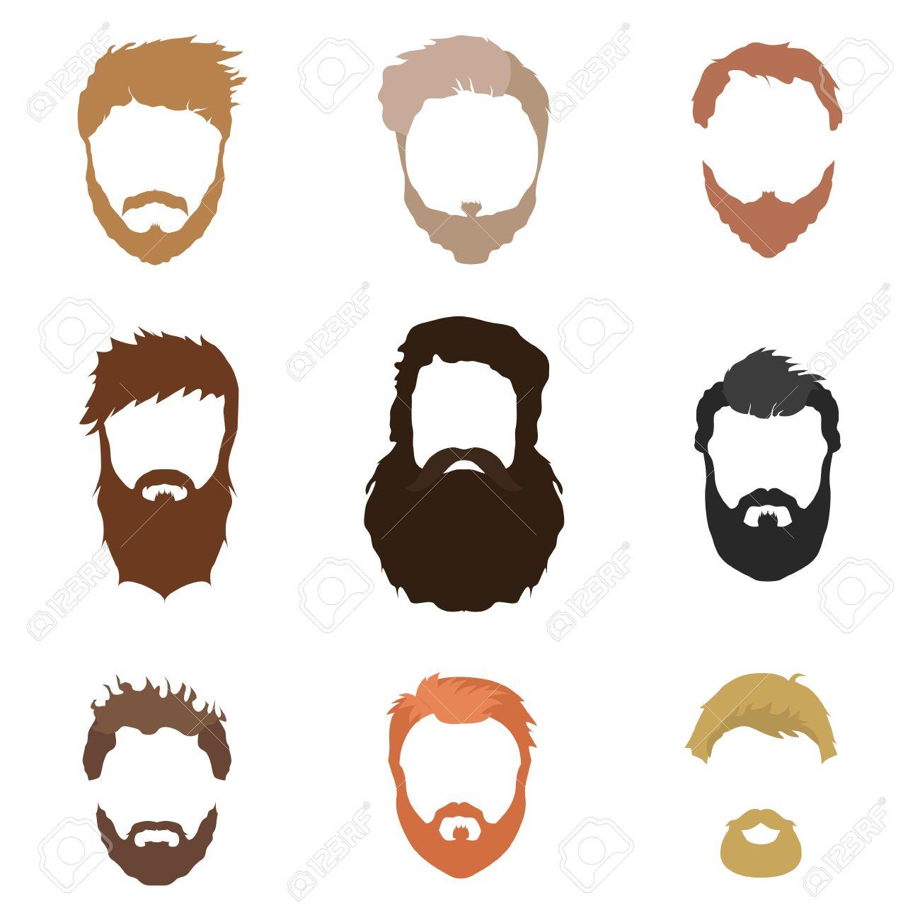 Hair, beard and face, hair, cut,out mask flat cartoon collections