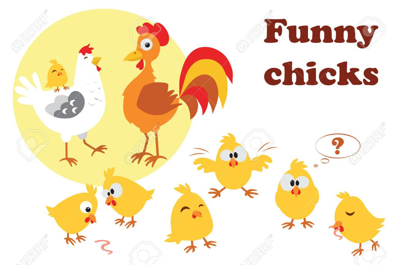 cute cartoon chicken and rooster with chickens vector illustration rh 123rf com images of cartoon chickens free images of cartoon chickens