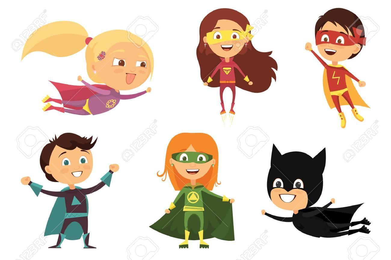 Niños, Trajes Coloridos De Varios Superhéroes, Aislados En Fondo ...