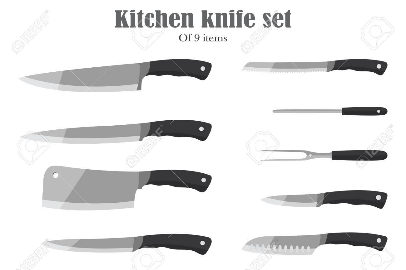 Messer Set Oder Küchenmesser. Besteck. Vektor-Illustration ...