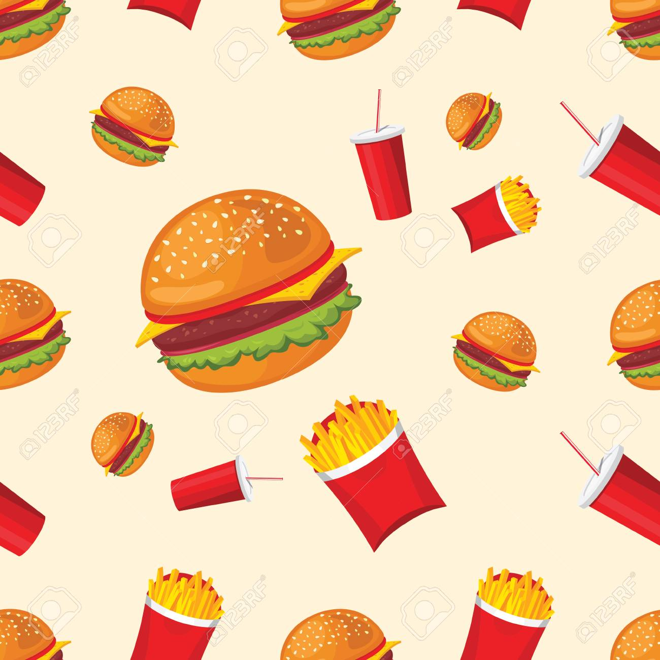 Vektor Nahtlose Muster Von Pommes Frites, Coca-Cola Und Hamburger ...