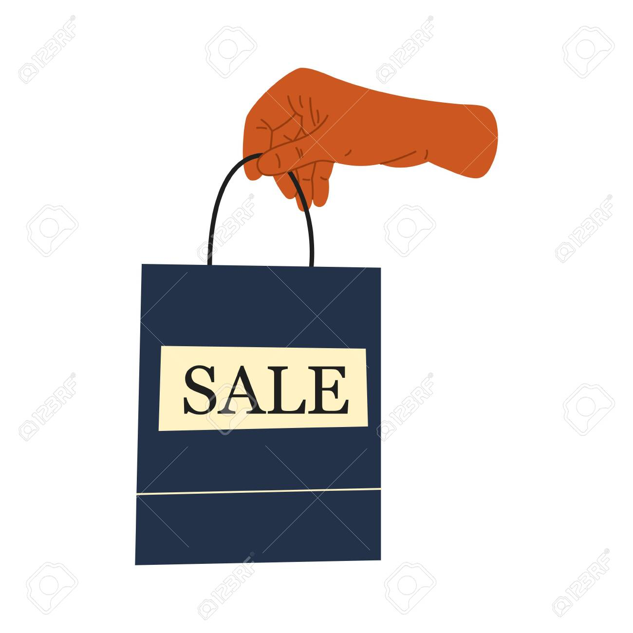 Female hand holds shopping or gifts. Sale sign. Shopping bag, gifts. Hand drawn vector illustration. Shopping, discounts, sale concept - 146990846