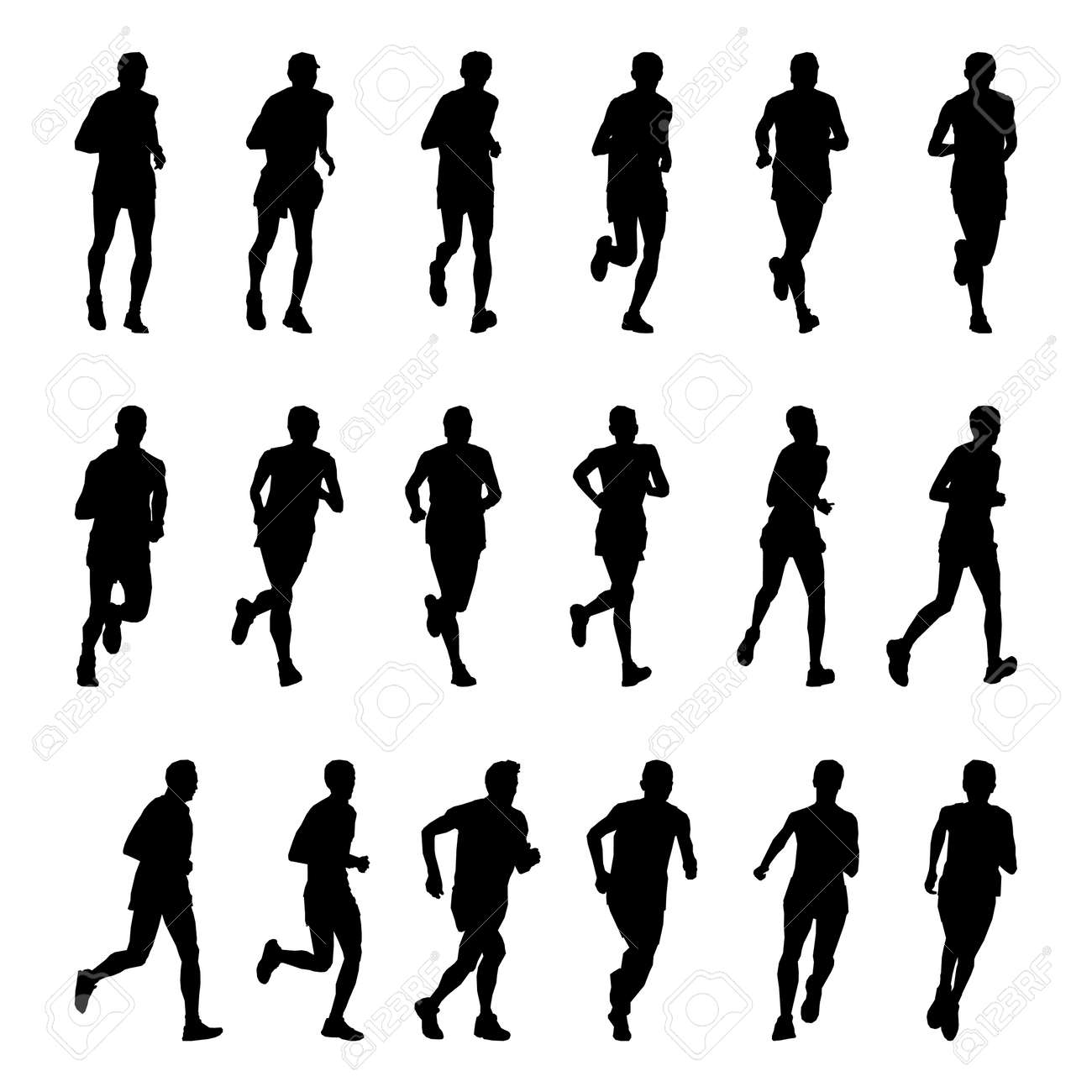 Vector drawing running athletes. Silhouettes on white background - 158521489