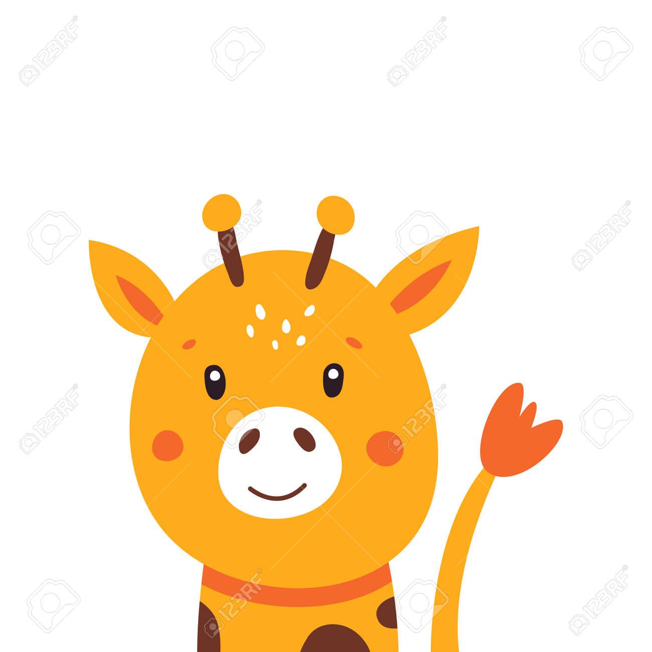 Illustration of a little cute giraffe on a white background. Vector illustration. - 169771668