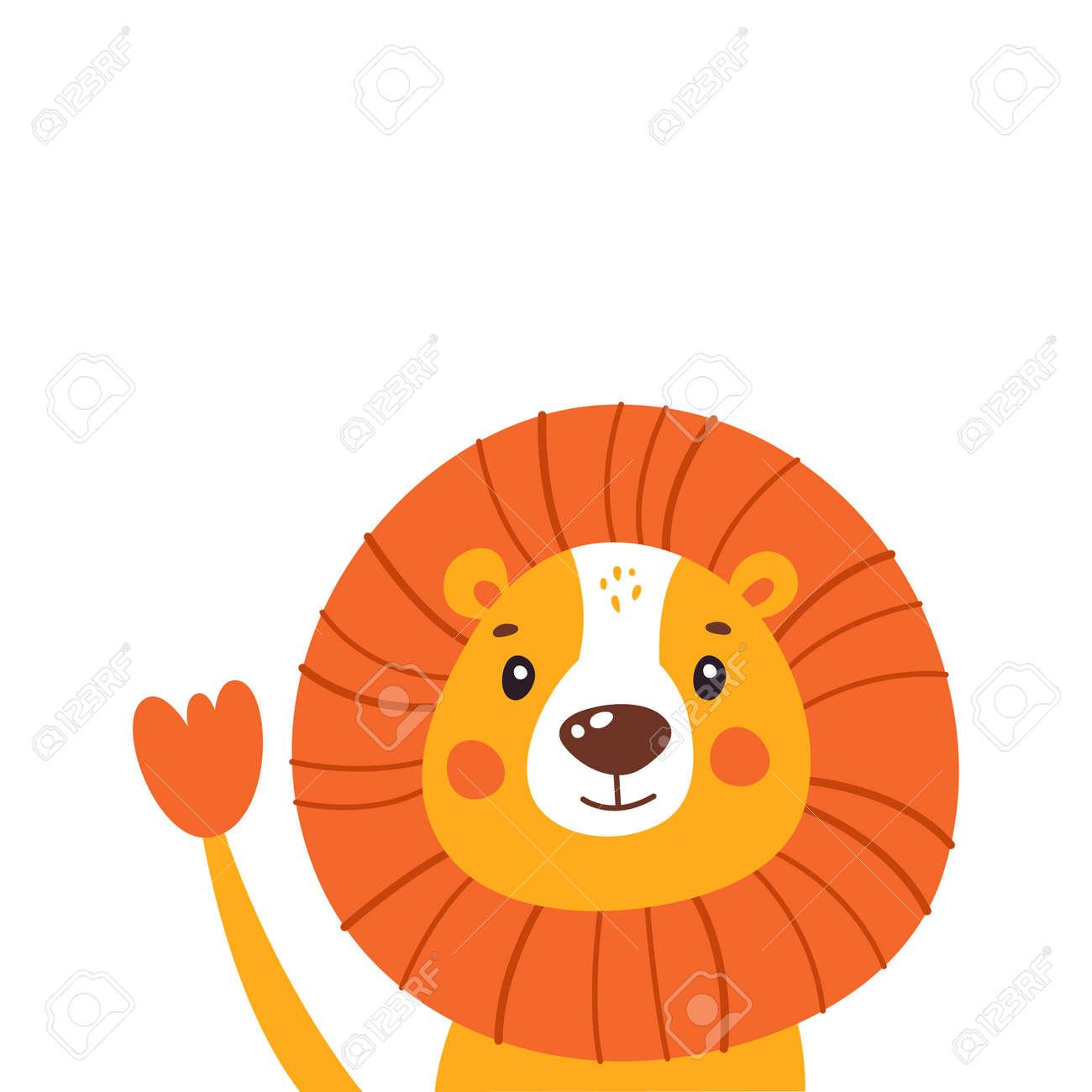 Cartoon happy lion isolated on white background. Vector illustration. - 169771677