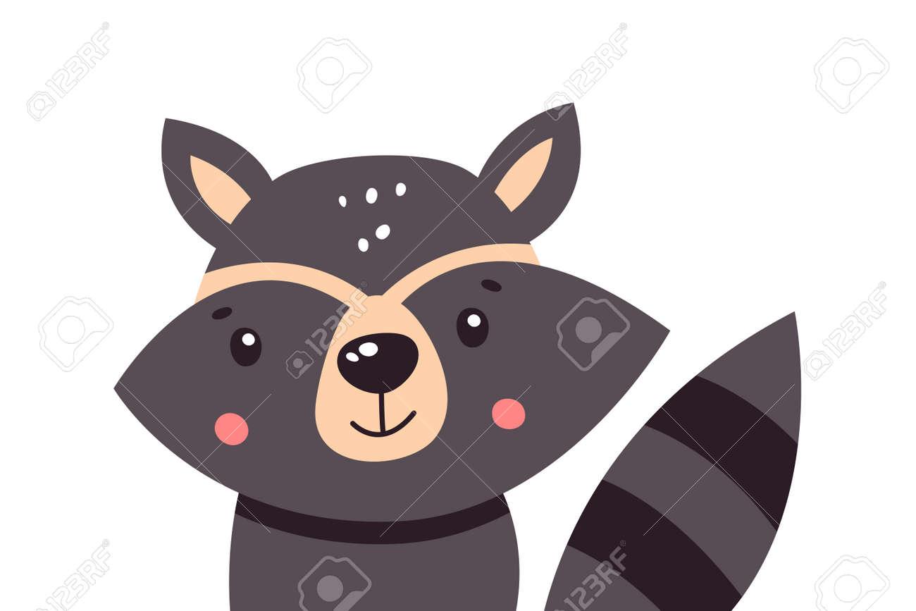 Cartoon cute raccoon on a white background, vector illustration. - 169771672