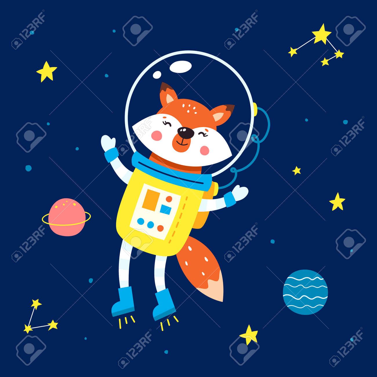 Animals in space. Vector illustration on a blue background. - 169771678