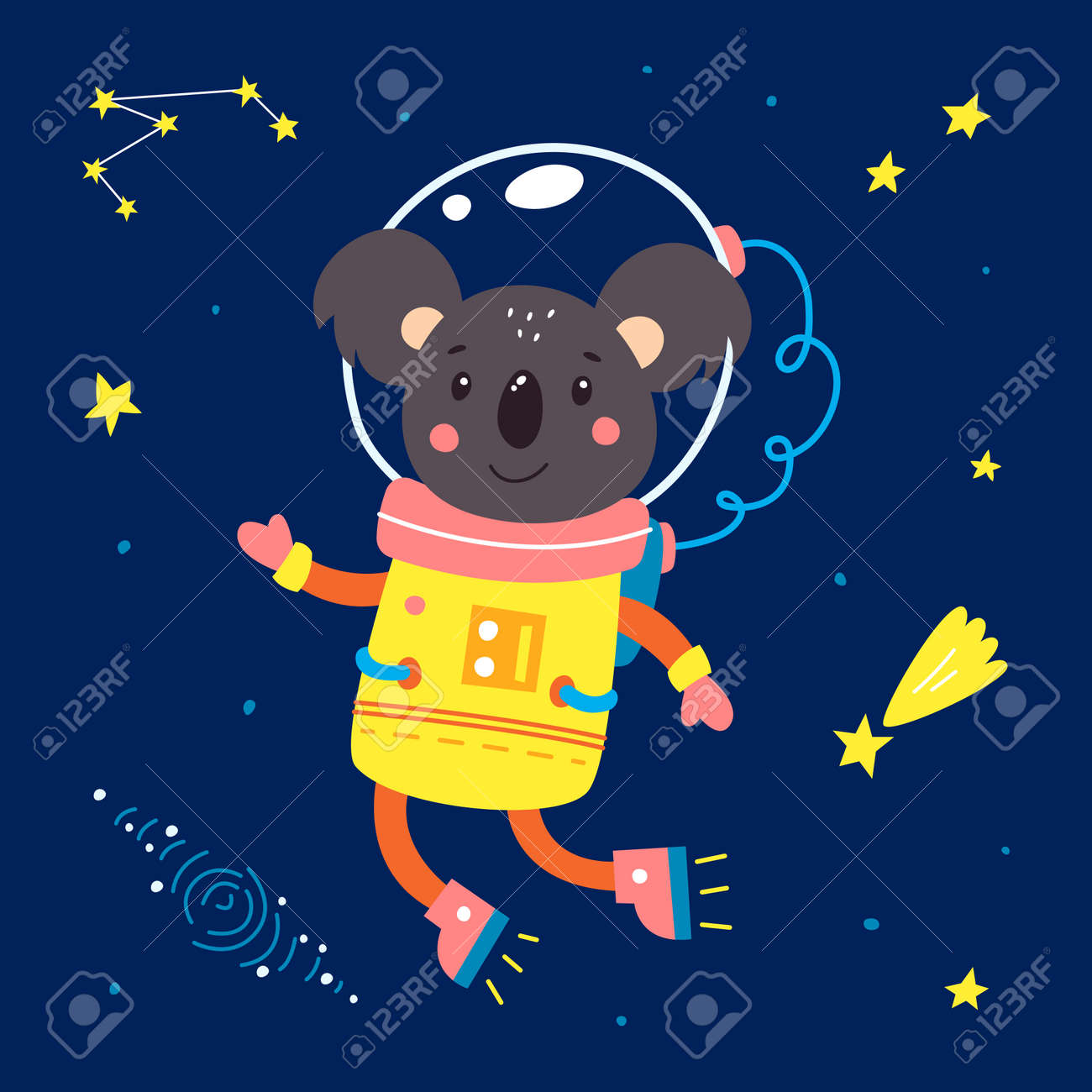 Animals in space. Vector illustration on a blue background. - 169771675