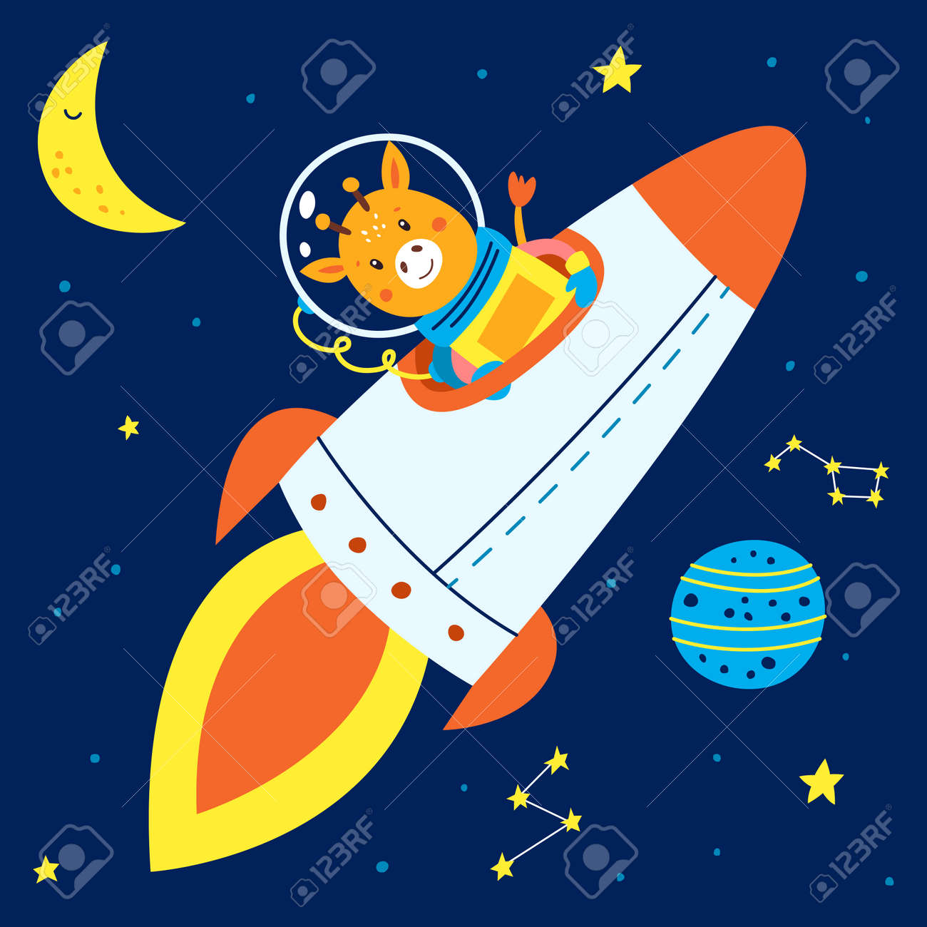 Animals in space. Vector illustration on a blue background. - 169771674