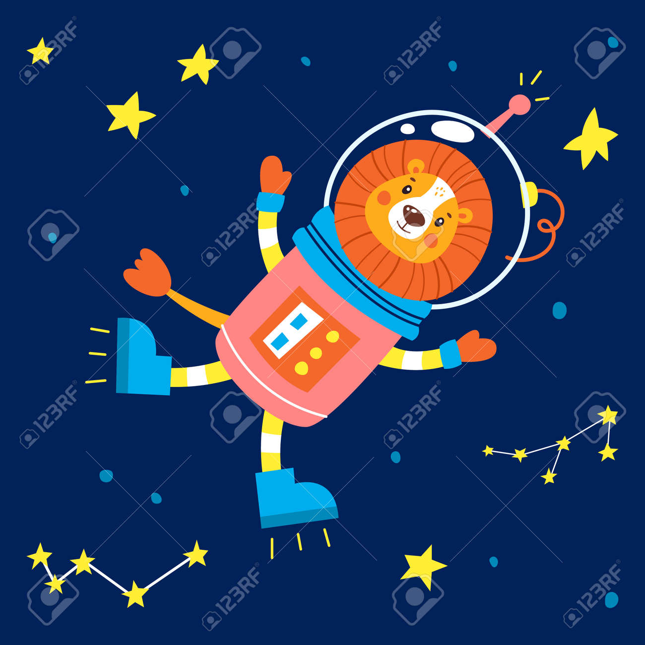 Animals in space. Vector illustration on a blue background. - 169771681