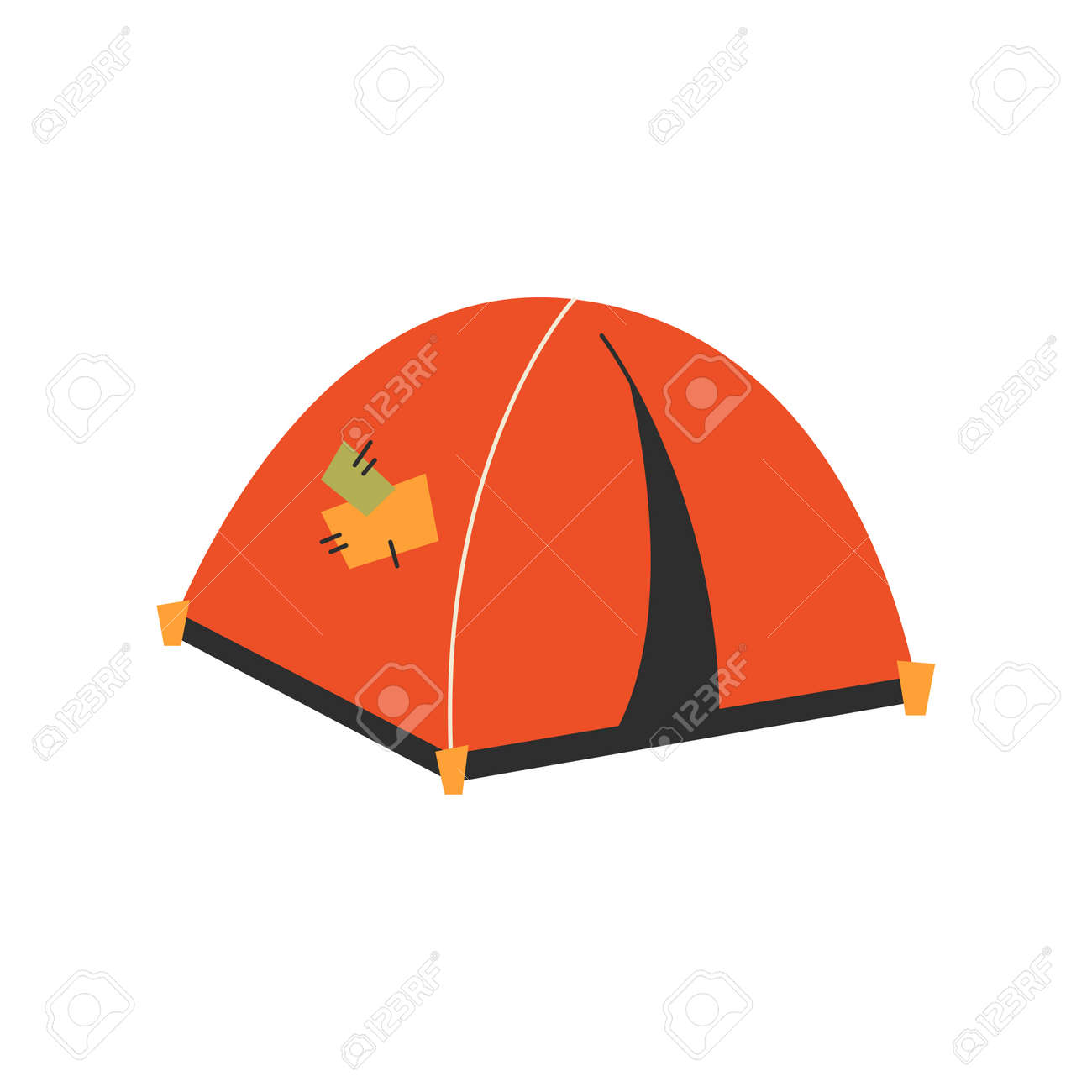 The only canvas tent on a white background. Vector illustration. - 169771744