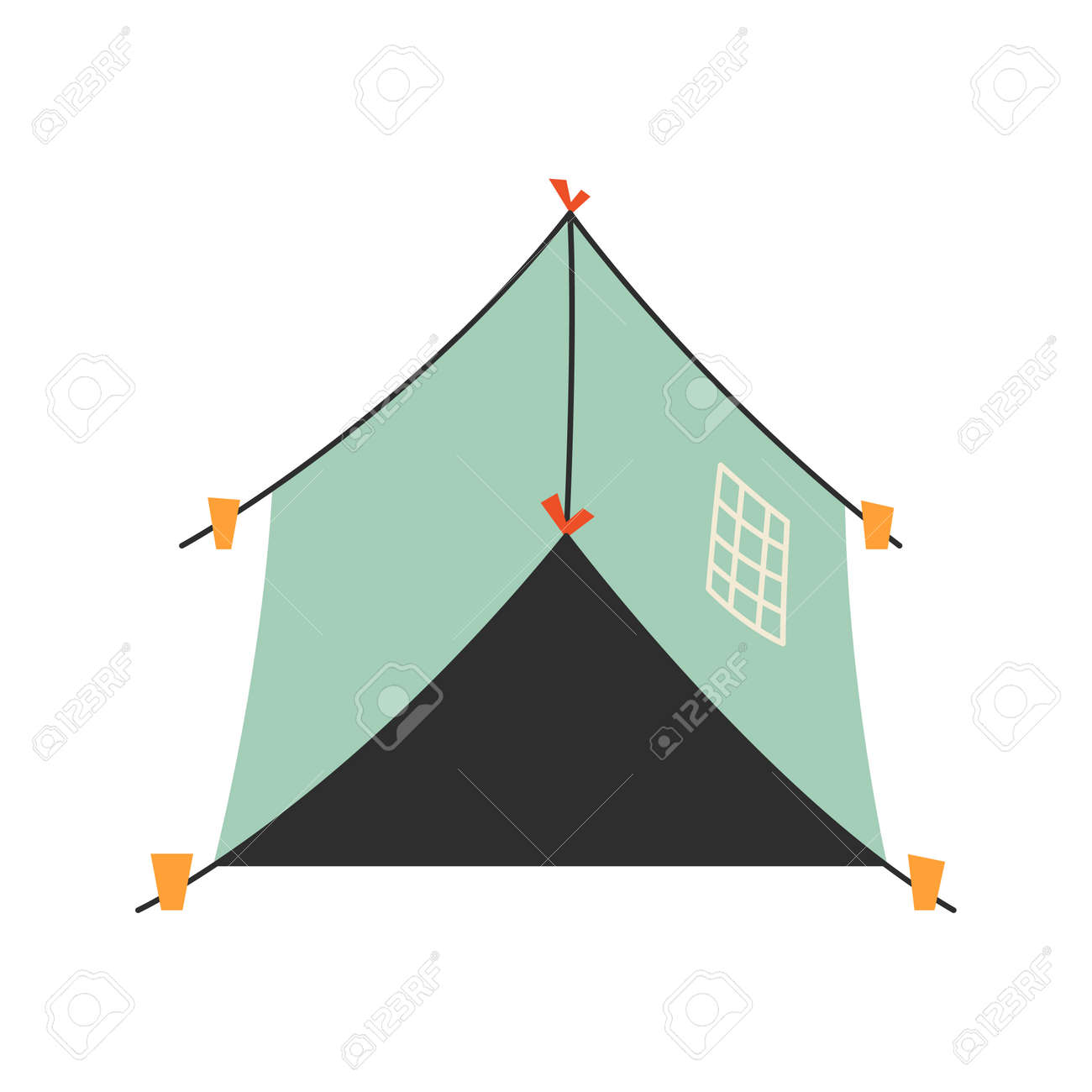 The only canvas tent on a white background. Vector illustration. - 169771937