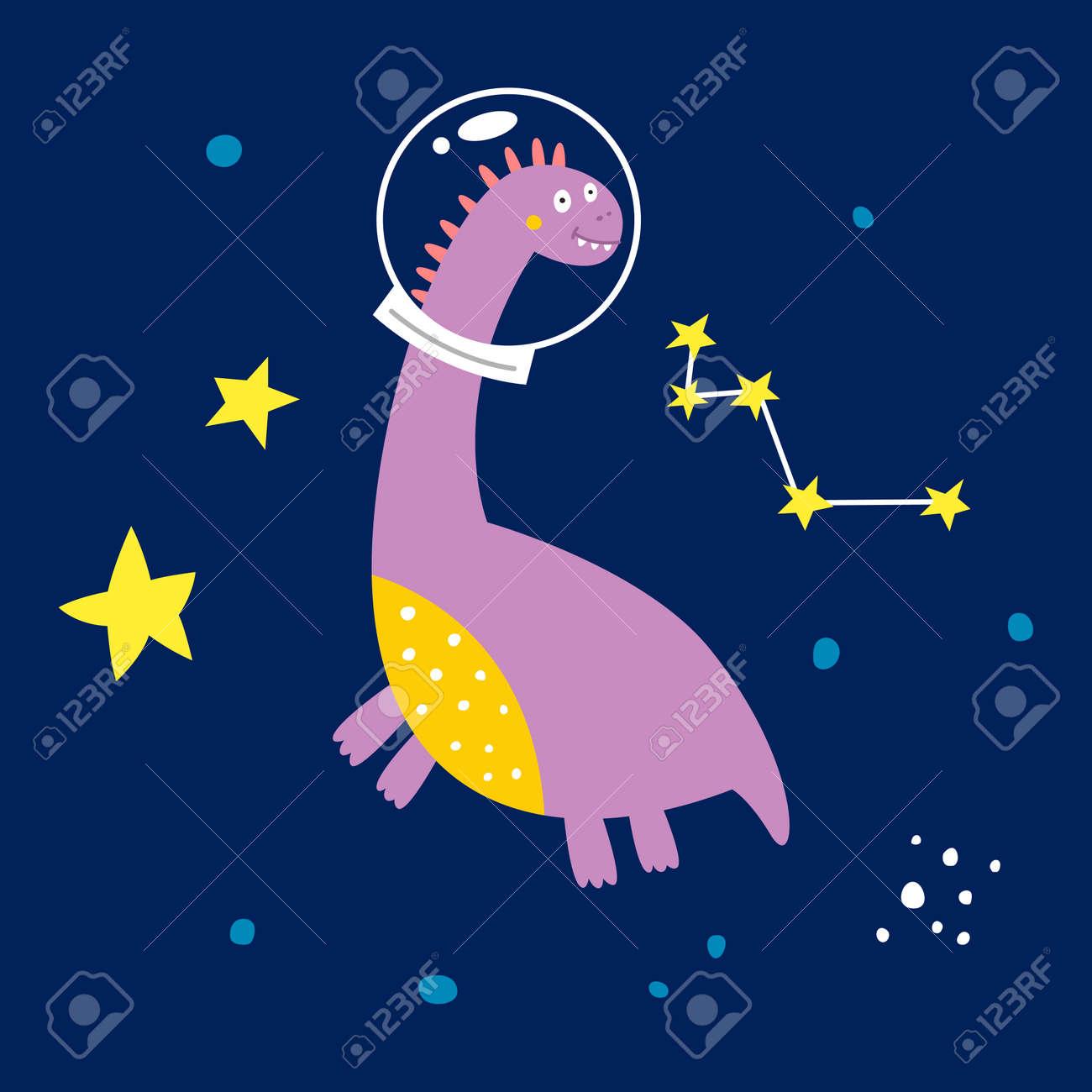 Space dinosaur, vector illustration for children fashion. - 169772082