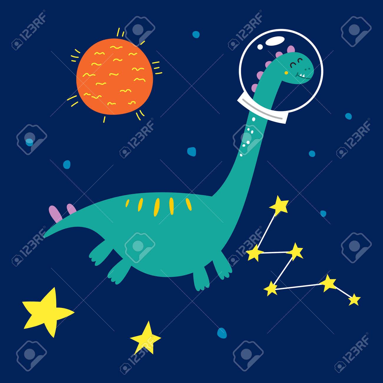 Space dinosaur, vector illustration for children fashion. - 169772086