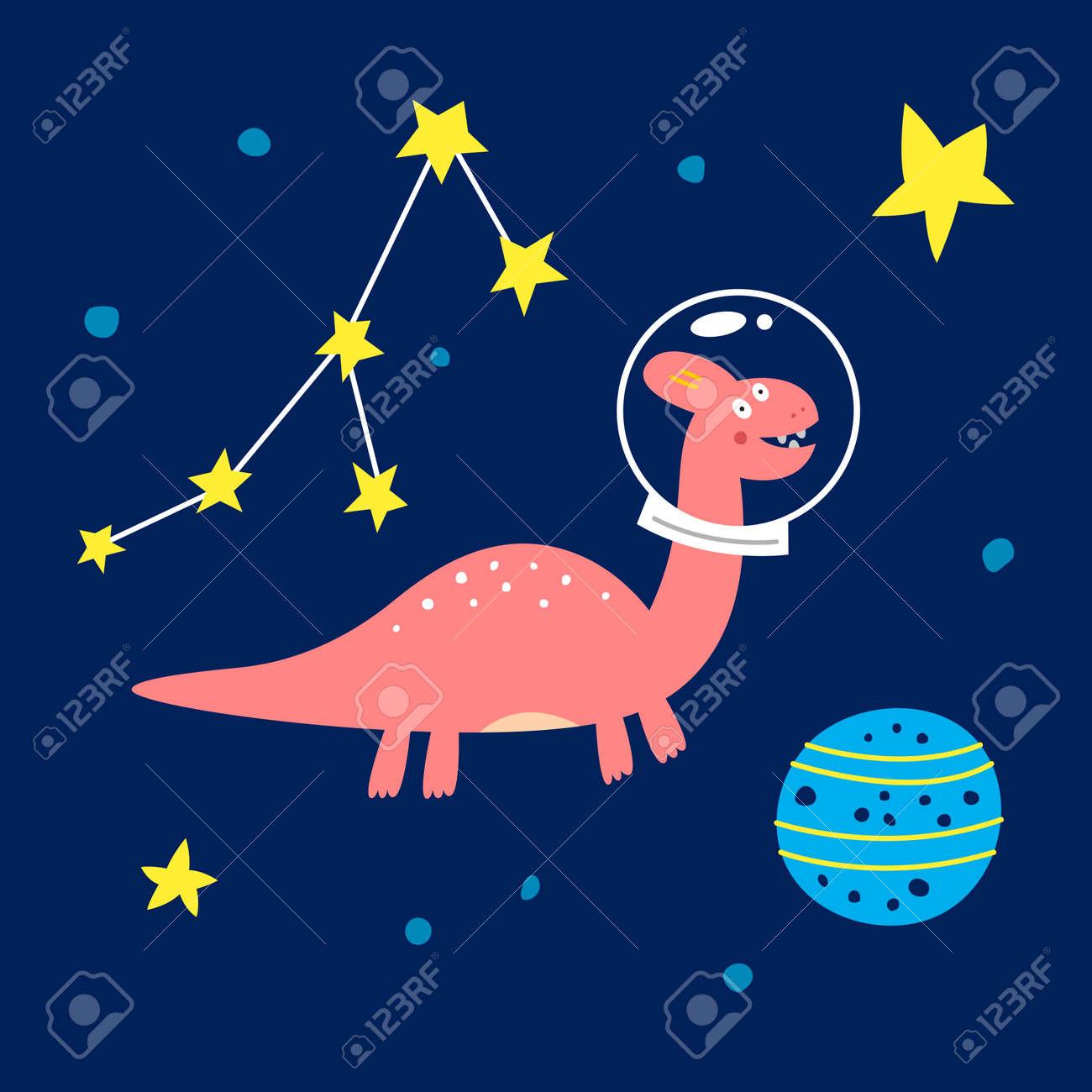 Space dinosaur, vector illustration for children fashion. - 169772192