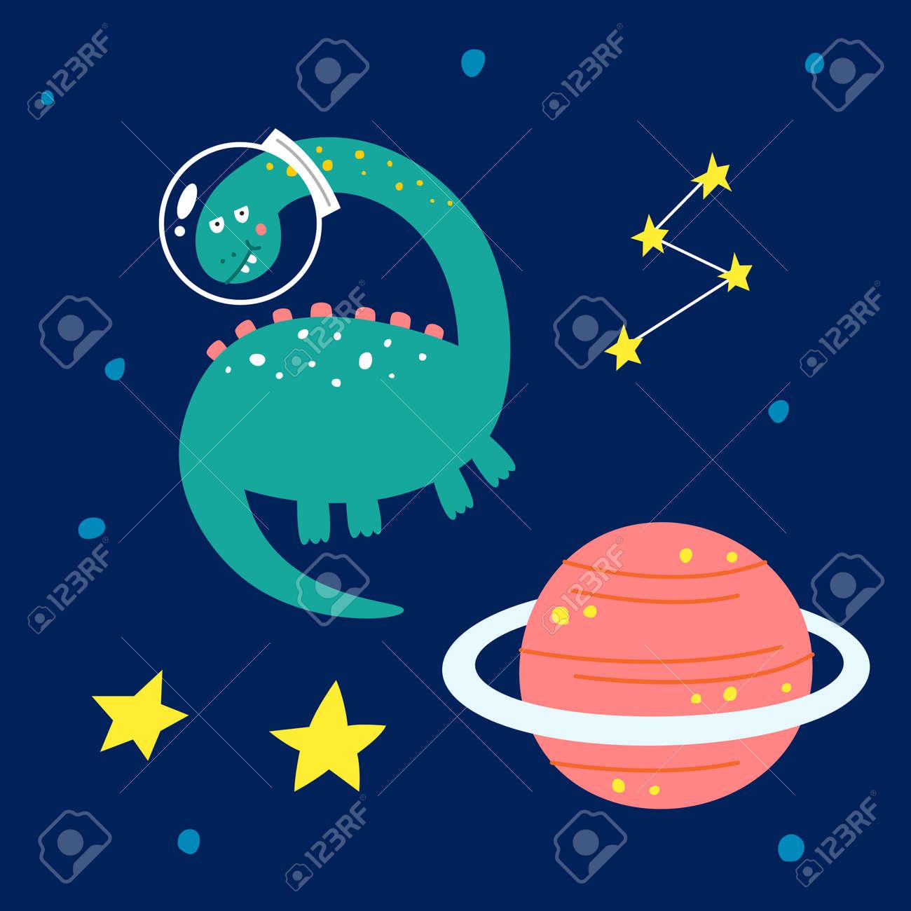 Space dinosaur, vector illustration for children fashion. - 169772193