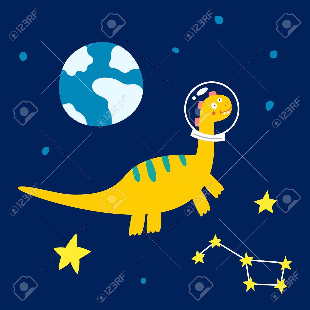 Space dinosaur, vector illustration for children fashion. - 169772196