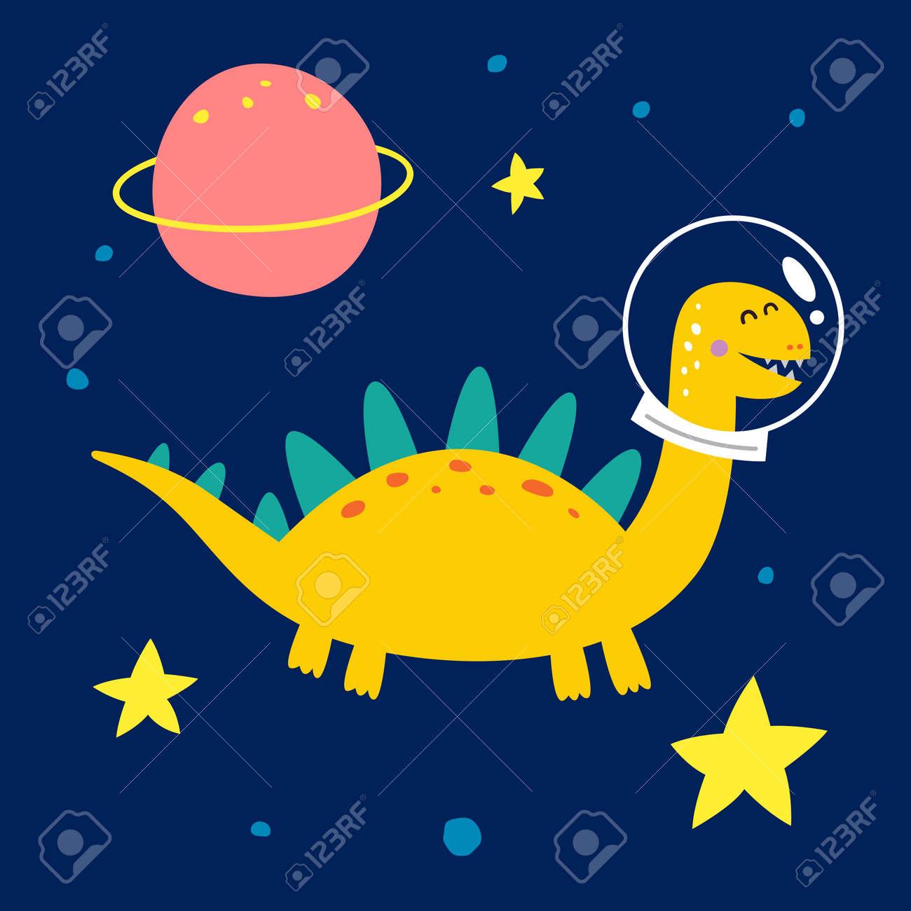Space dinosaur, vector illustration for children fashion. - 169772194