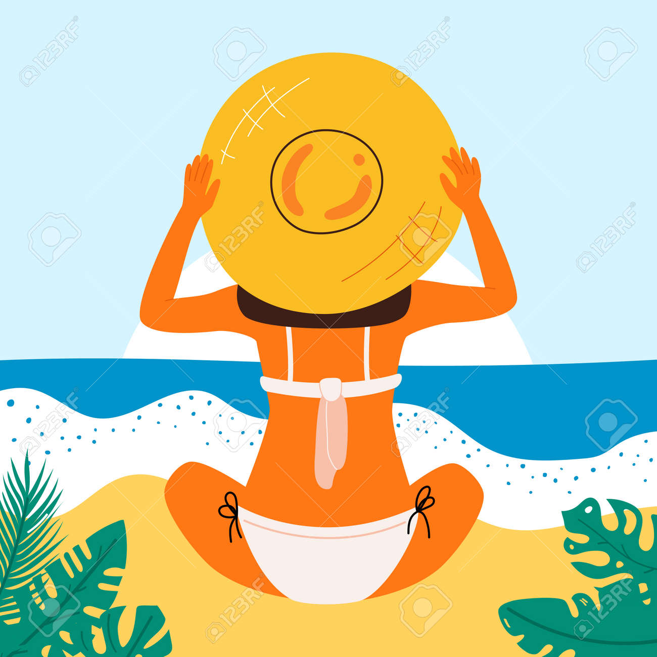 Retro summer poster with a beautiful woman. Great banner for beach party, hotel vacation advertisement. Summer background. Vector. - 169772202