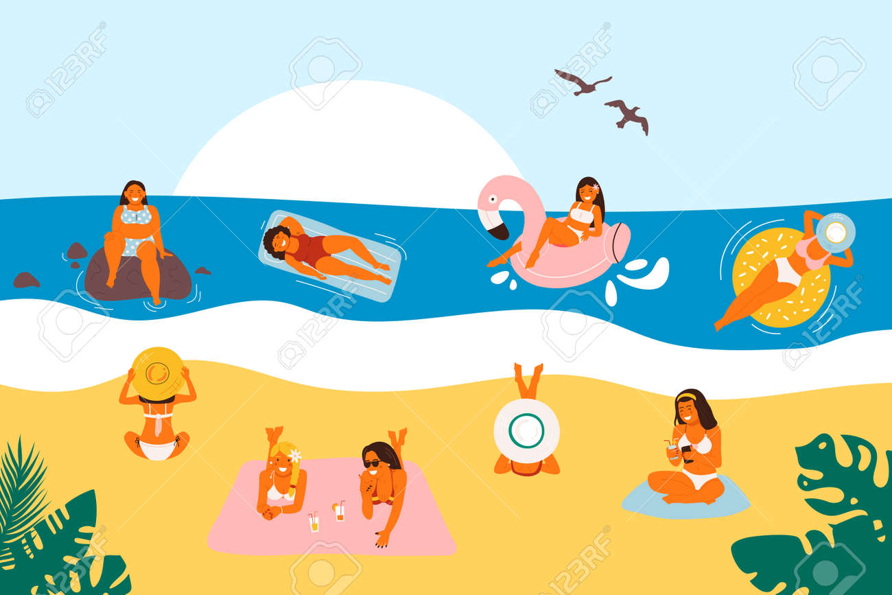 Summer vacation on the beach, vector illustration. Flat sea holiday activities, women, people travel in sandy design. Cartoon ocean leisure, man having fun and outdoors - 171220376