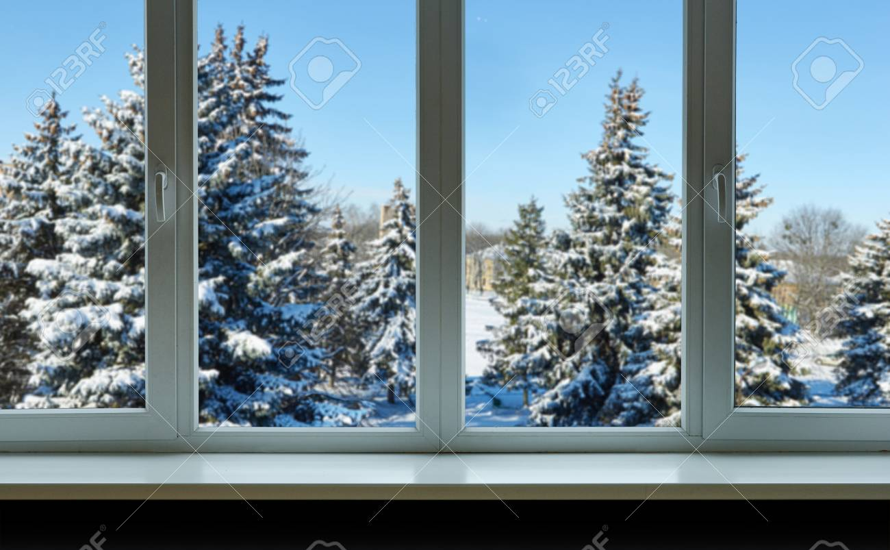 christmas trees in the snow outside the window stock photo picture